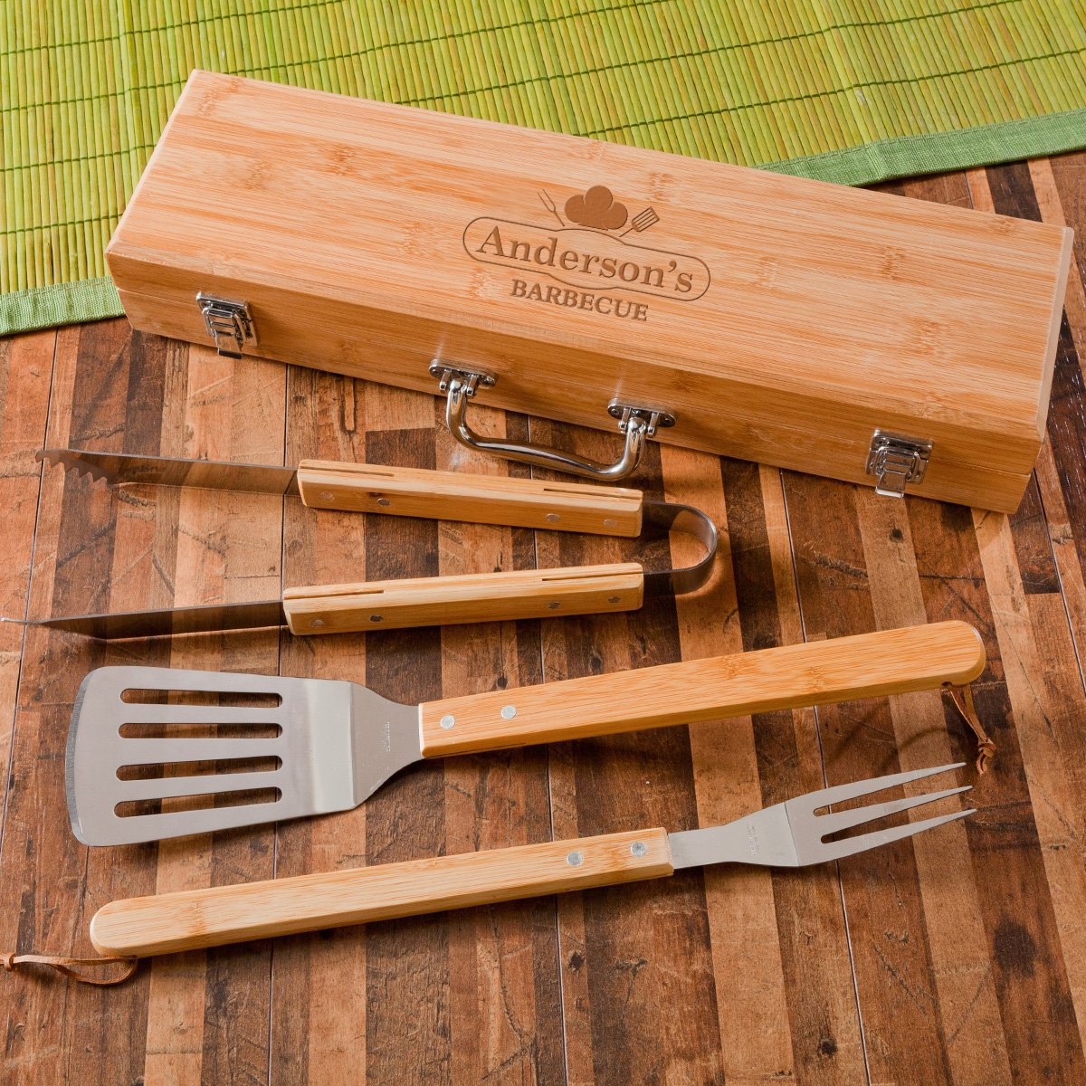 Personalized Grilling BBQ Set with Bamboo Case – Personalized Grill Set