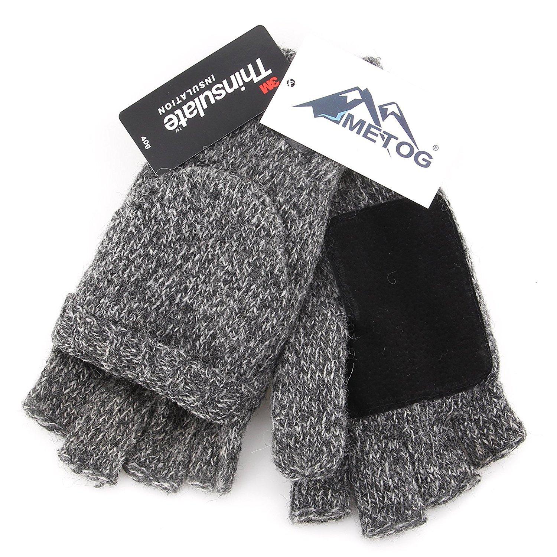 VOGOUL Thinsulate Thermal Insulation Suede Mittens Gloves Winter Warm Gloves Unisex Black Tweed M