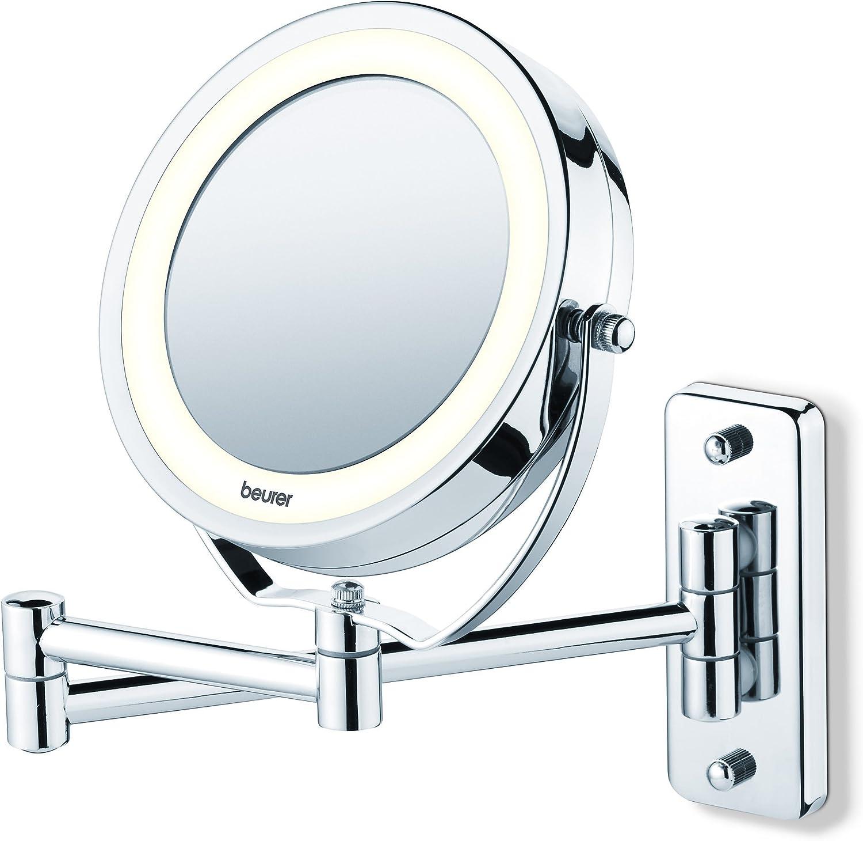 Beurer BS59 - Espejo maquillaje con luz LED, con brazo para pared, 2 espejos en 1, 1 cara vista normal, 1 cara con aumento x5, espejo estraible del brazo, color plata