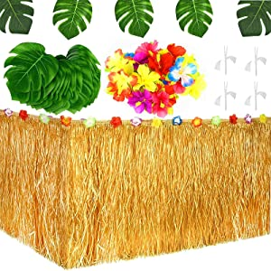 53 PCS Hawaiian Tropical Decoration for Luau Birthday Party Supplies Decor, 9ft Hawaiian Table Skirt, Artificial Tropical Monstera Leaves, Hibiscus Flowers Party Favor