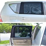 TFY Universal Car Rear Side-Door Square-Window Sunshades - For vehicles with side windows 31.5'' - 47'' W x 23'' H (Large Rectengular Window)