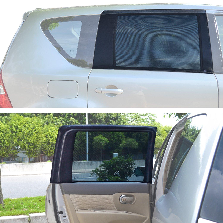 TFY Universal Sonnenblenden fü r quadratische, hintere Autoseitenfenster - Fü r Autos mit Seitenfenstern von 29.5'' - 41.5'' Breite x 19' Hö he (regelmä ß ig Fenster) SUNMESH_XS