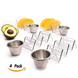Taco Holder Stand Rack, with Cup, Stainless Steel, Guacamole or Salsa, Great for 12 Hard or Soft Shell | Dishwasher Oven Safe -Set of 4 Pack Premium