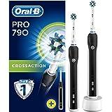 Oral-B PRO790CrossAction Brosse à Dents Électrique Rechargeable Par Braun, 2Manches Noirs, 2Brossettes