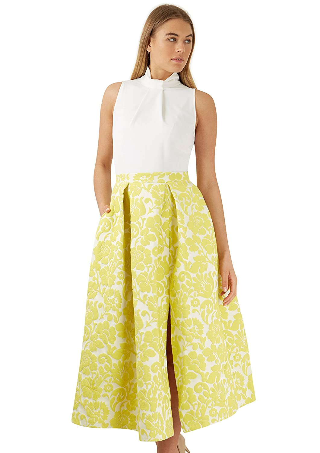 GOLD 2 in 1 Yellow Floral Jacquard Full Skirt Dress