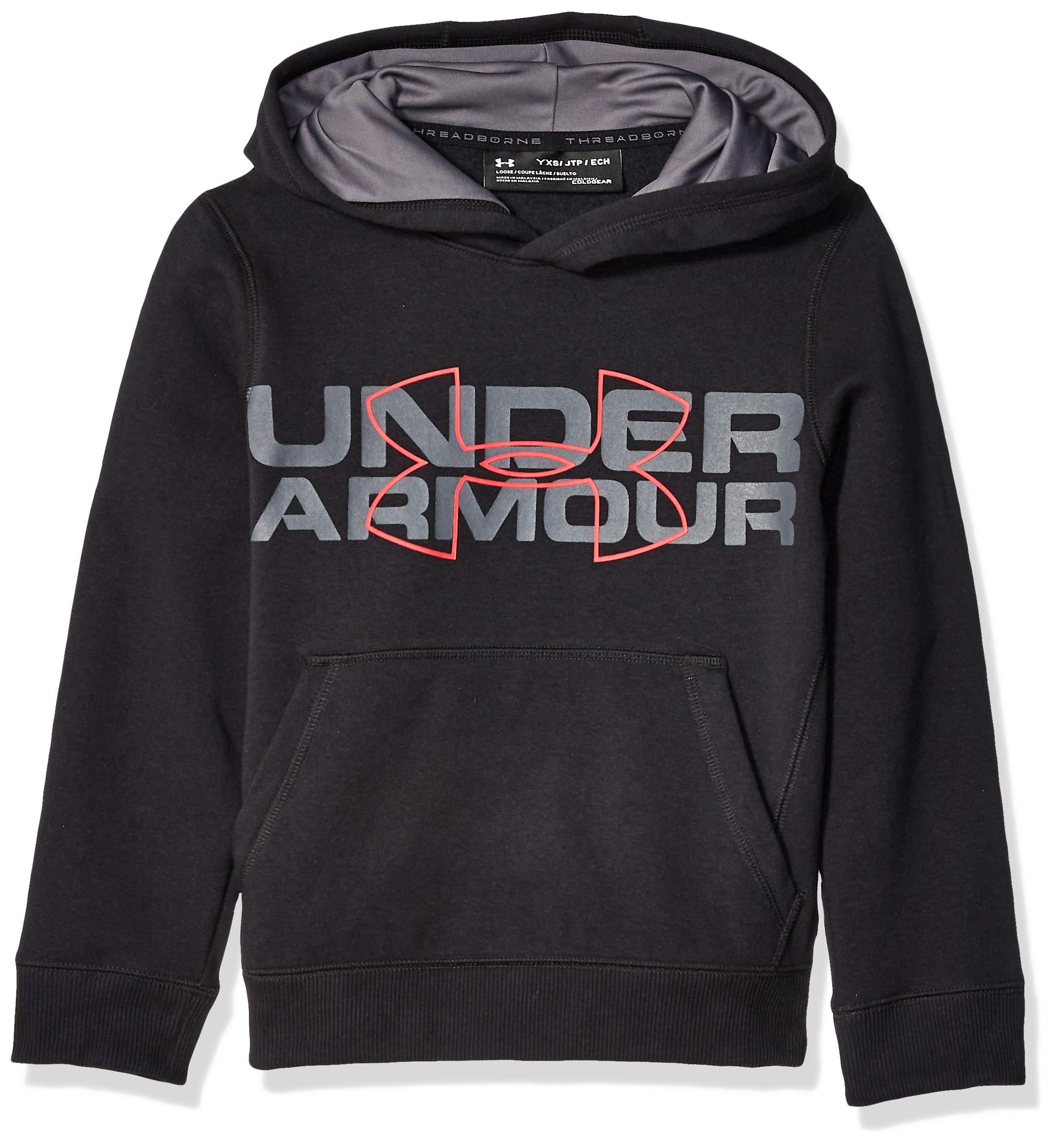 Under Armour Boys' Threadborne Logo Hoodie, Black /Red, Youth X-Small by Under Armour