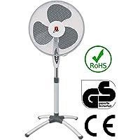 Ertex Germany Standventilator Ø 43 cm   Oszillierender Ventilator   Windmaschine   Klimagerät   Turmventilator   Leise   Bodenventilator   Luftkühler 3 Laufgeschwindigkeiten 45 Watt