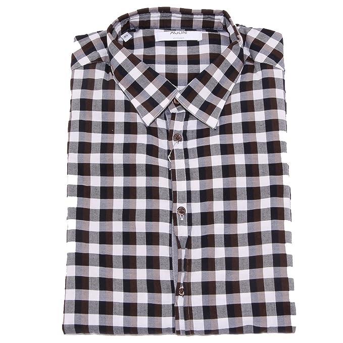 new arrival ac5bc c83ba 5468U camicia uomo AGLINI RICCARDO4 brown/black/white shirt ...
