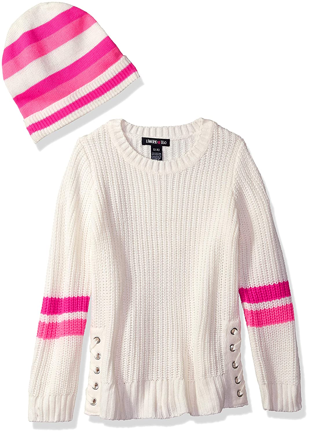 Limited Too Girls' Lace Up Side Rib Sweater with Hat