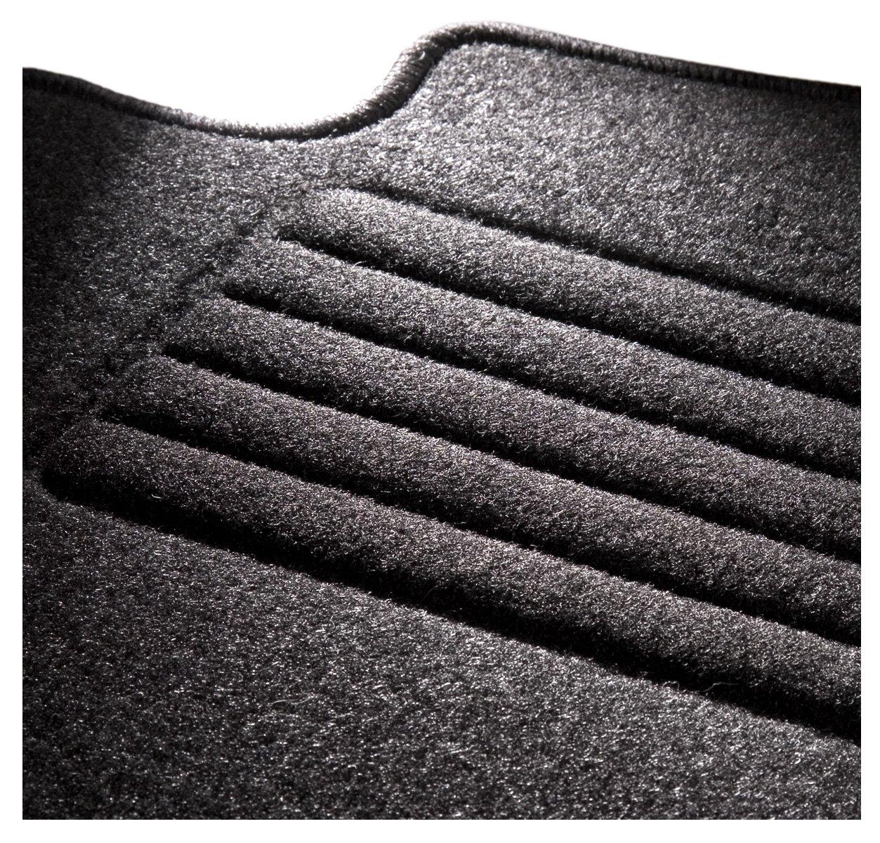 CarFashion 257095 ExquiPlus II Schwarze Hochglanz Kettelung Passform Auto Fussmatten Fussmatte Velours in schwarz anthrazit 4 teiliges Auto Fussmatten Set mit Mattenhalter