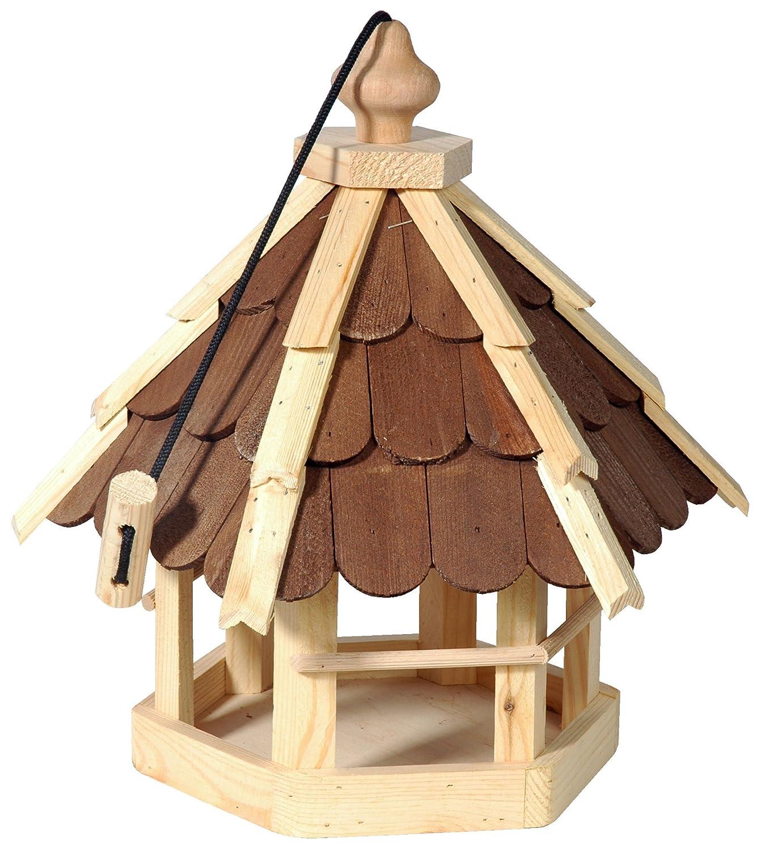 dobar Vogelhaus aus Holz (Kiefer) mit braunen Holzschindeln zum Aufstellen oder Aufhängen Balkon mit dunklen Holzschindeln 90638e