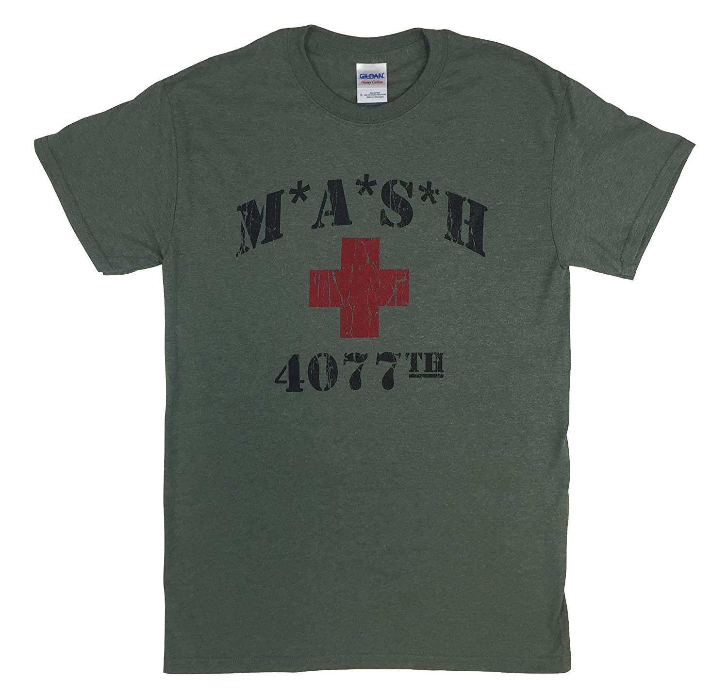 MASH 4077th Heather Military Green T Shirt Red Cross MASH
