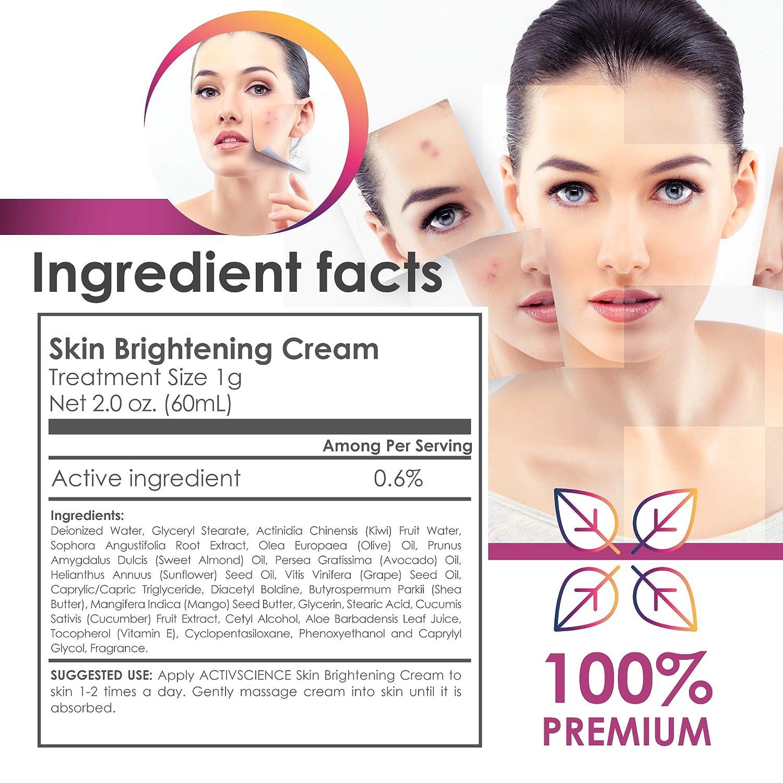 ACTIVSCIENCE Whitening Cream – Powerful Skin Lightening Cream for Face Body. Dark Spot, Melasma Hyperpigmentation Treatment. Sans Hydroquinone. 2 fl oz.