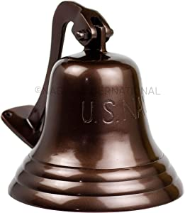 Nagina International U.S Navy Engraved Aluminum Antique Polished Metal Nautical Bell   Premium Ship's Decor   Navy Gift