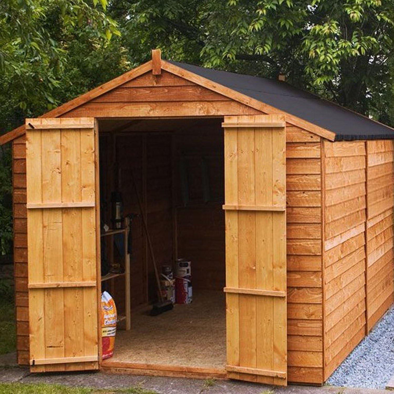 Cobertizo con tejado en punta superpuesto, sin ventanas y con puerta doble