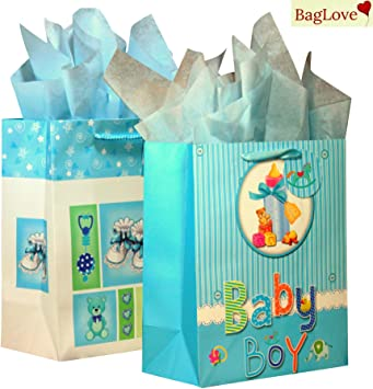 Christening Day Large Wide Blue Gift Bag For Special Boy Luxury New Baby Him Big