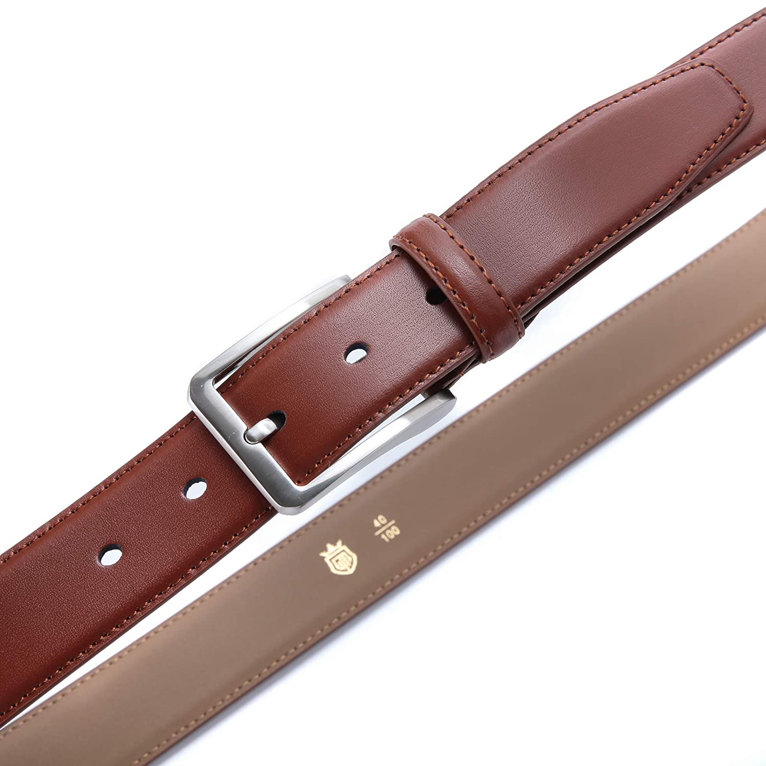 Ground Mind Mens Belts Casual Genuine Leather Dress Business Suits Belt//Jeans Belt with Buckle