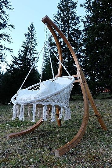 DESIGN Hängesessel Hängestuhl Mit Gestell Aus Holz Lärche Modell: CATALINA  Komplett Mit Großem Stoffsessel Von
