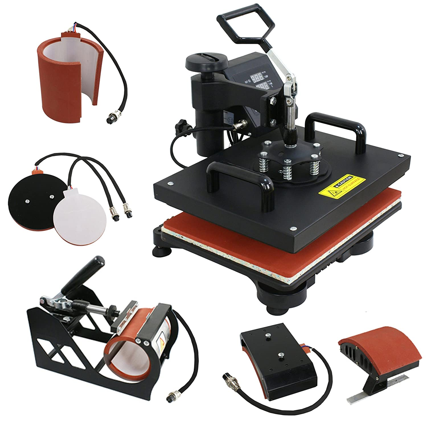 F2C Pro 5 in 1 Swing-away Digital Transfer Sublimation Heat Press Machine Hat/Mug/Plate/Cap/T-shirt Multifunction New Black(5 in 1) F2C-D1