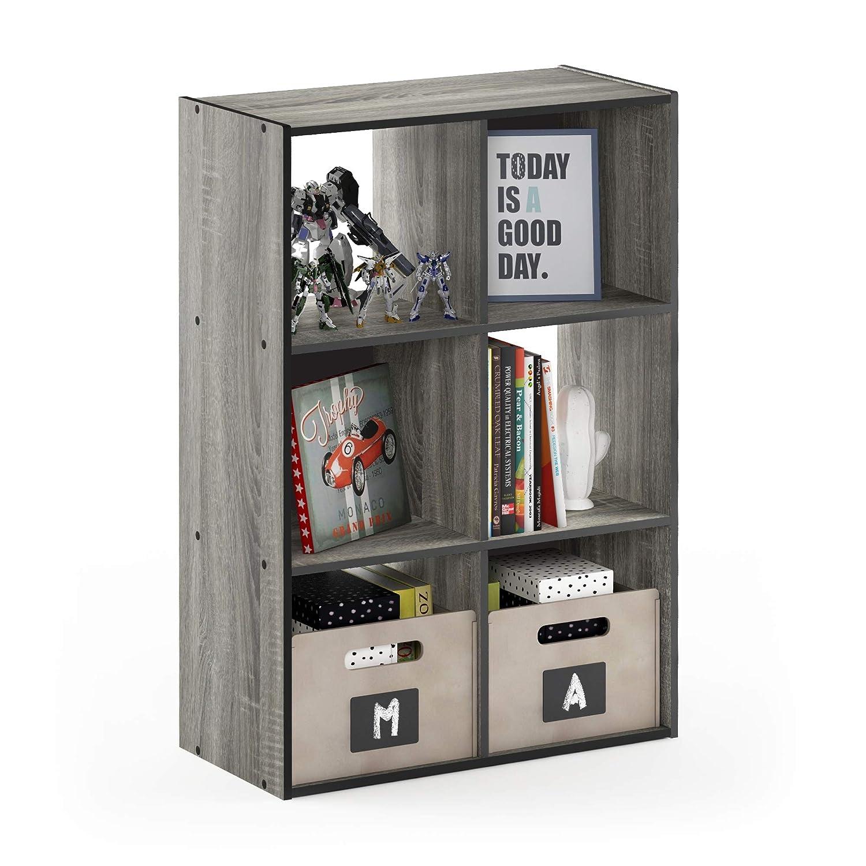 Furinno 18051GYW Pelli Storage Shelves 2x2 French Oak Grey//Black