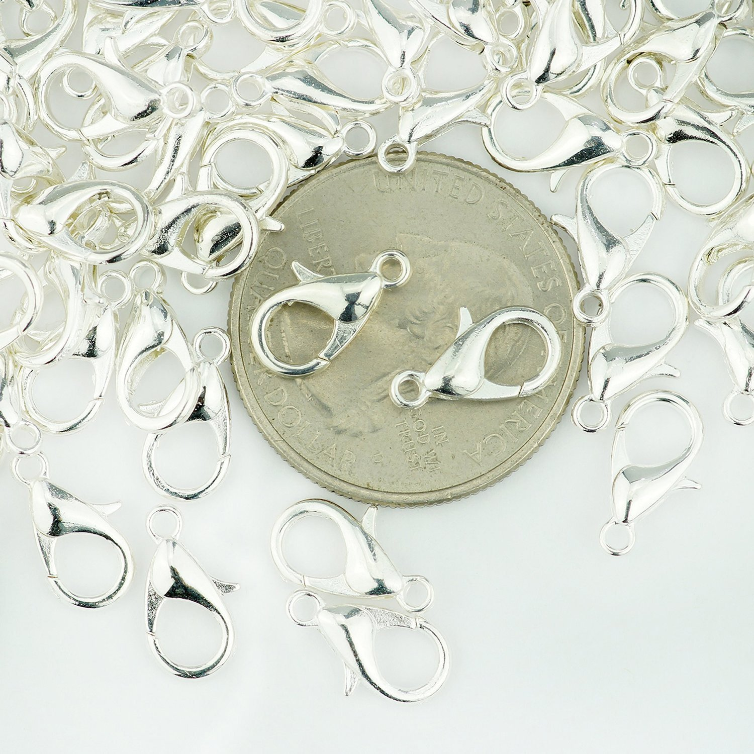 Yueton Curved Lobster Clasps-100pcs 7x12mm Silver Plated Lobster Claw Clasps DIY Jewelry Fastener Hook,necklace DIY Fasteners Silver
