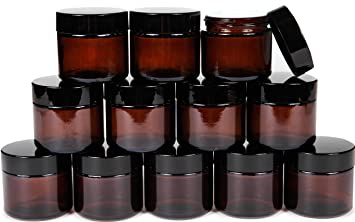 Amazoncom Vivaplex 12 Amber 2 oz Round Glass Jars with Inner