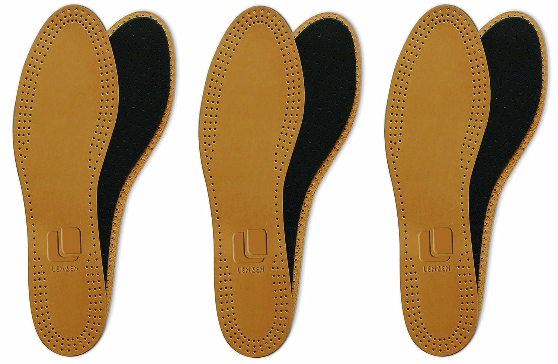 3 Paar Echtleder Einlegesohle, Premium, Aktivkohle, Geruchsabsorber, hohe Paßgenauigkeit im Schuh, sehr dünn und weich, atmungsaktiv sehr dünn und weich manufactured for Lenzen GmbH