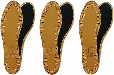 Lenzen 3 Pares de Plantillas de Cuero con Carbón Activo I Insertos de Piel para Zapatos y Botas I Suelas Interiores I Hombre y Mujer