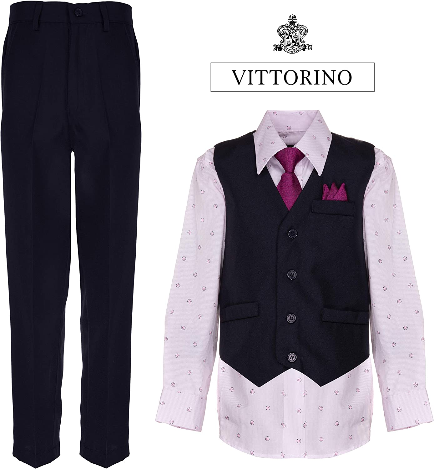 Navy//Pink Print,8 Vittorino Boys 4 Piece Holiday Suit Set with Vest Shirt Tie Pants and Hankerchief