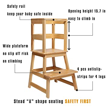 for Toddlers 18 Months and Older Black LT01B SDADI Kids Kitchen Step Stool with Safety Rail