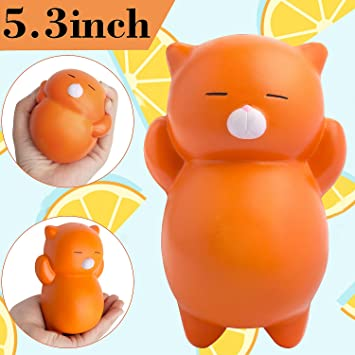 Outee Squishies Slow Rising, 5.3 Pulgadas Jumbo Squishy Lento Levantamiento Squishies de Gato Stress Relief Perfumado Kawaii Cat Toy Suave Squishy Lento ...
