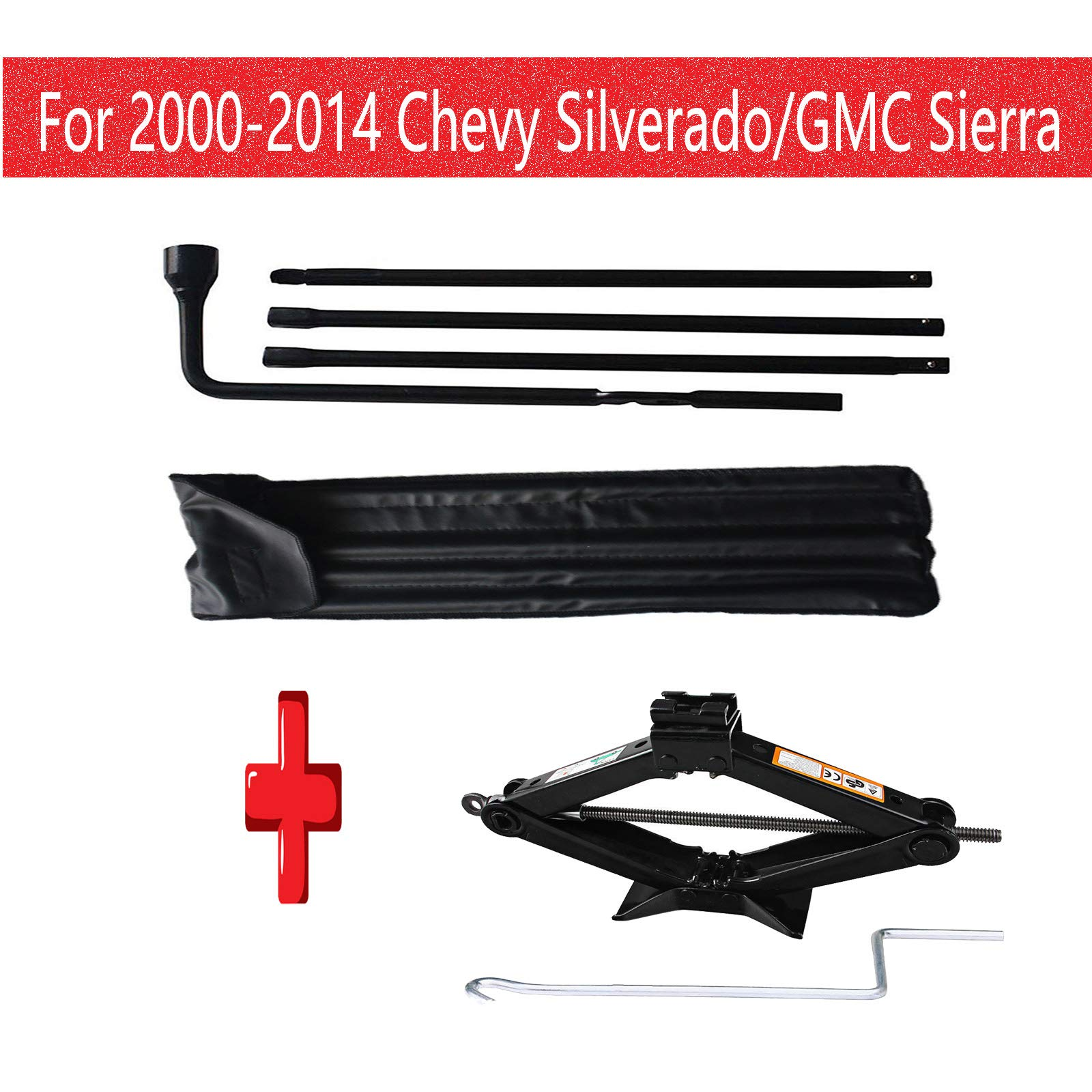 Xinner for Chevy Silverado GMC Sierra 2000-2014 Spare Tire Lug Wrench Repair Tool Kit with 2 Tonne(4000lb) Heavy Duty Scissor Jack Rust-Resistant for Car
