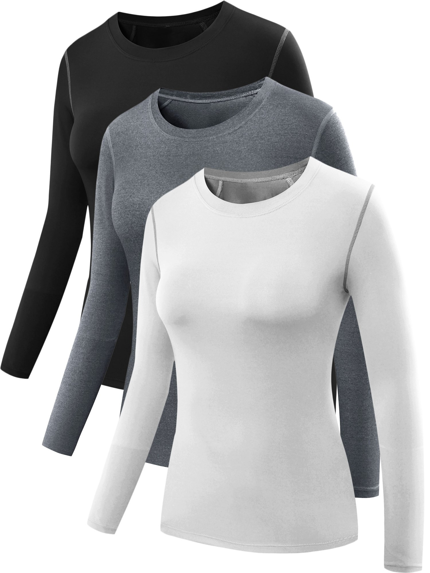 Neleus Women's 3 Pack Dry Fit Athletic Compression Long Sleeve T Shirt,Black,Grey,White,Small
