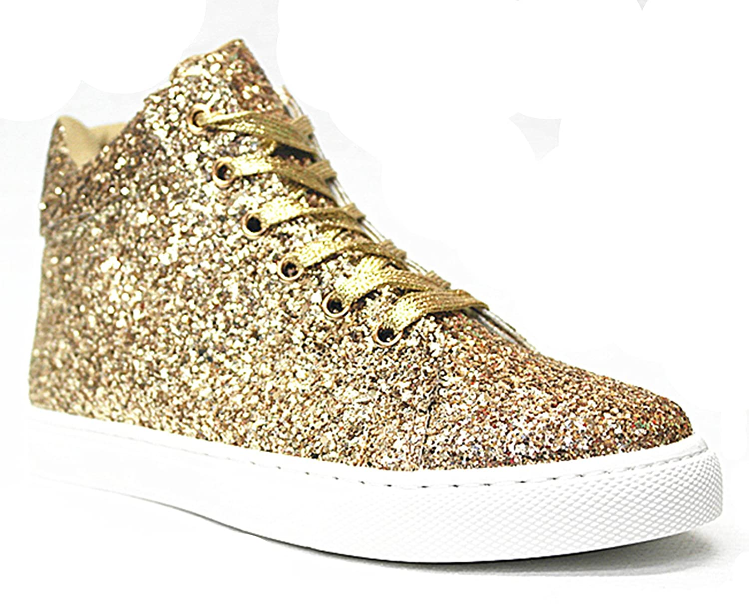 SF Forever Link Remy-18 Women's Jogger Sneaker-Lightweight Glitter Quilted Lace up Shoes New B07BJC6YGX 7.5 B(M) US|Gold-27