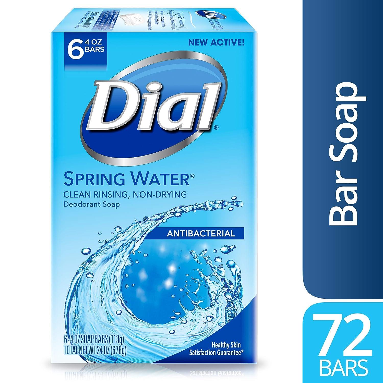 Dial Antibacterial Bar Soap, Spring Water, 4 Ounce, 72 Bars