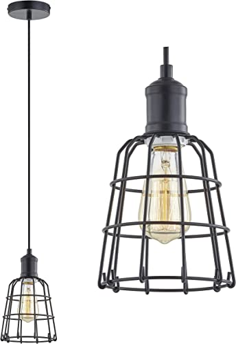 LeeZM Black Cage Pendant Light Industrial Hanging Light Fixture Mini Ceiling Light Hanging Lamp Vintage Pendant Lighting for Kitchen Island, Living Room, Bedroom Retro Style with Adjustable Cord