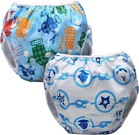 Luxja Pañal de Natación para bebes Bañador Reutilizable de Nadar de Bebé Pañal lavable para Bebé (0-3 años), vela + robot: Amazon.es: Bebé