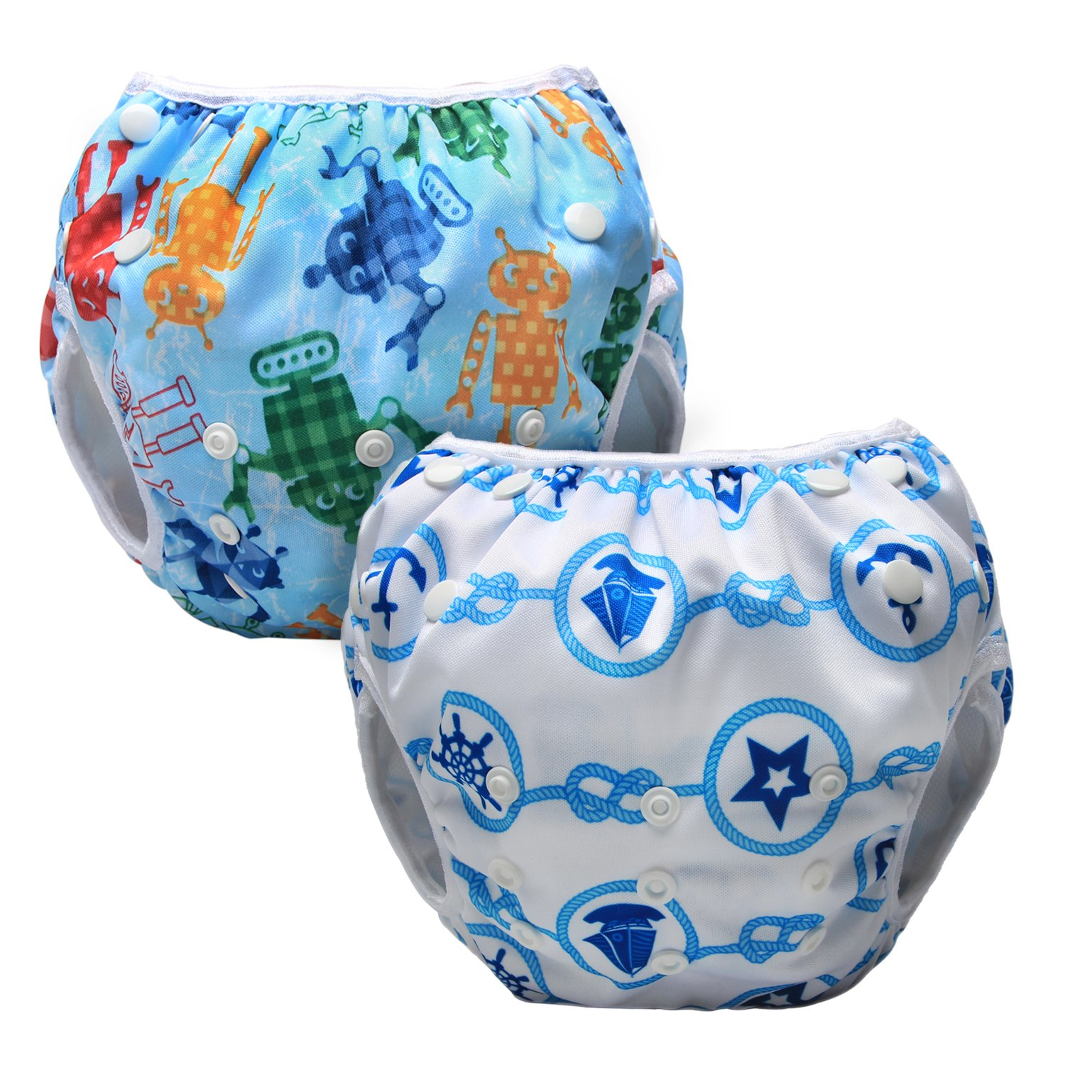 Luxja Reusable Swim Diaper (Pack of 2), Adjustable Swimming Diaper for Baby (0-3 years) Beach + Colorful Stars
