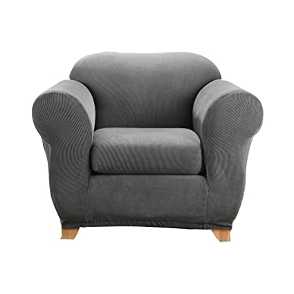 Sure Fit Stretch Madison Stripe One Piece Slipcover Gray, Chair, Grey