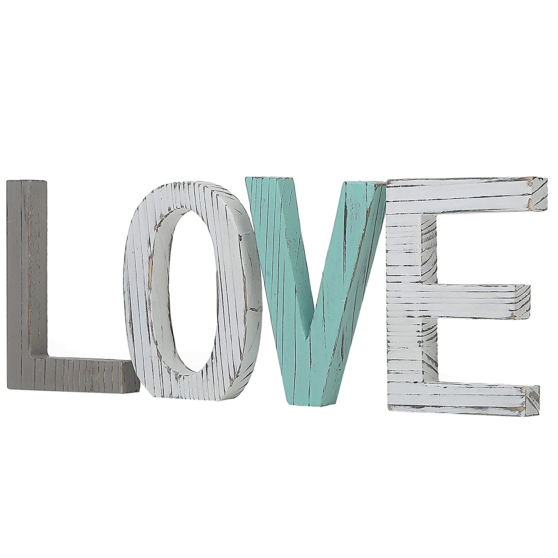 Saideke Home Distressed Wood Block Love Sign Decorative Wooden