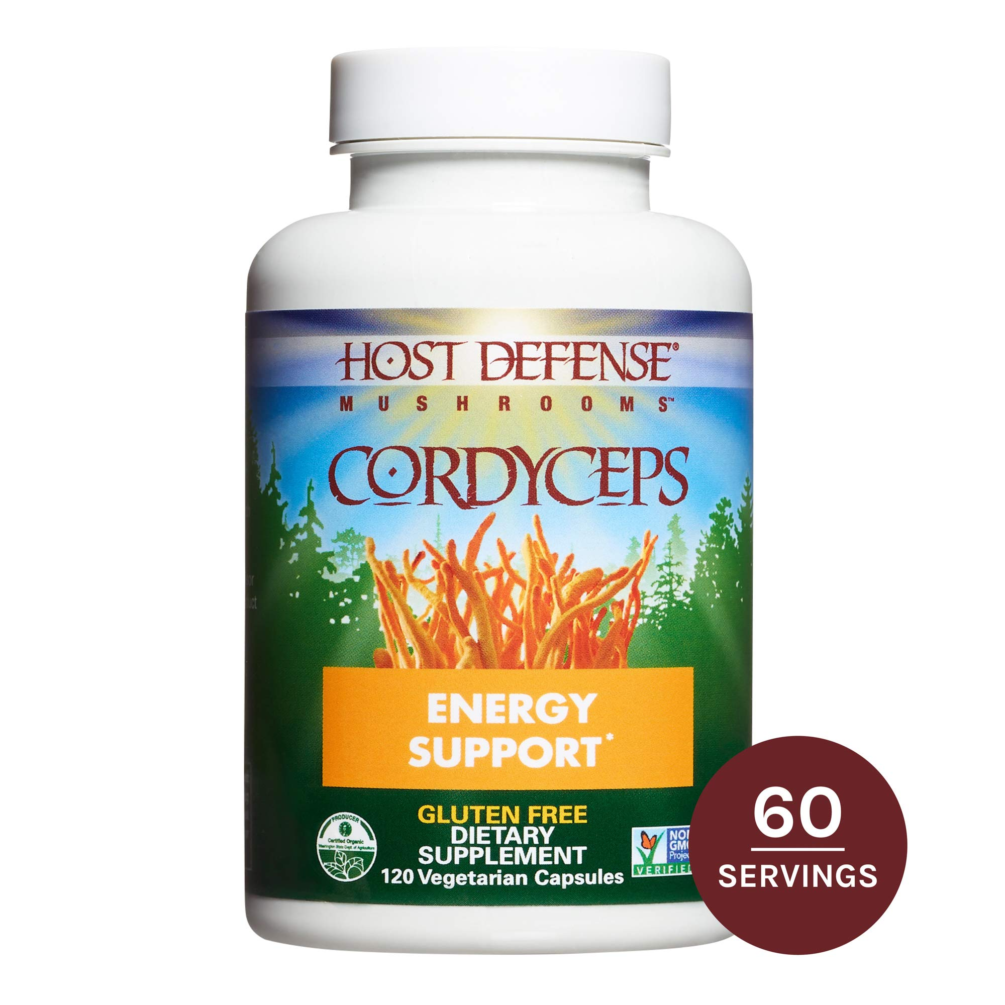 Host Defense, Cordyceps Capsules, Energy and Stamina Support, Daily Dietary Supplement, USDA Organic, Gluten Free, 120 vegetarian capsules (60 servings) by Host Defense