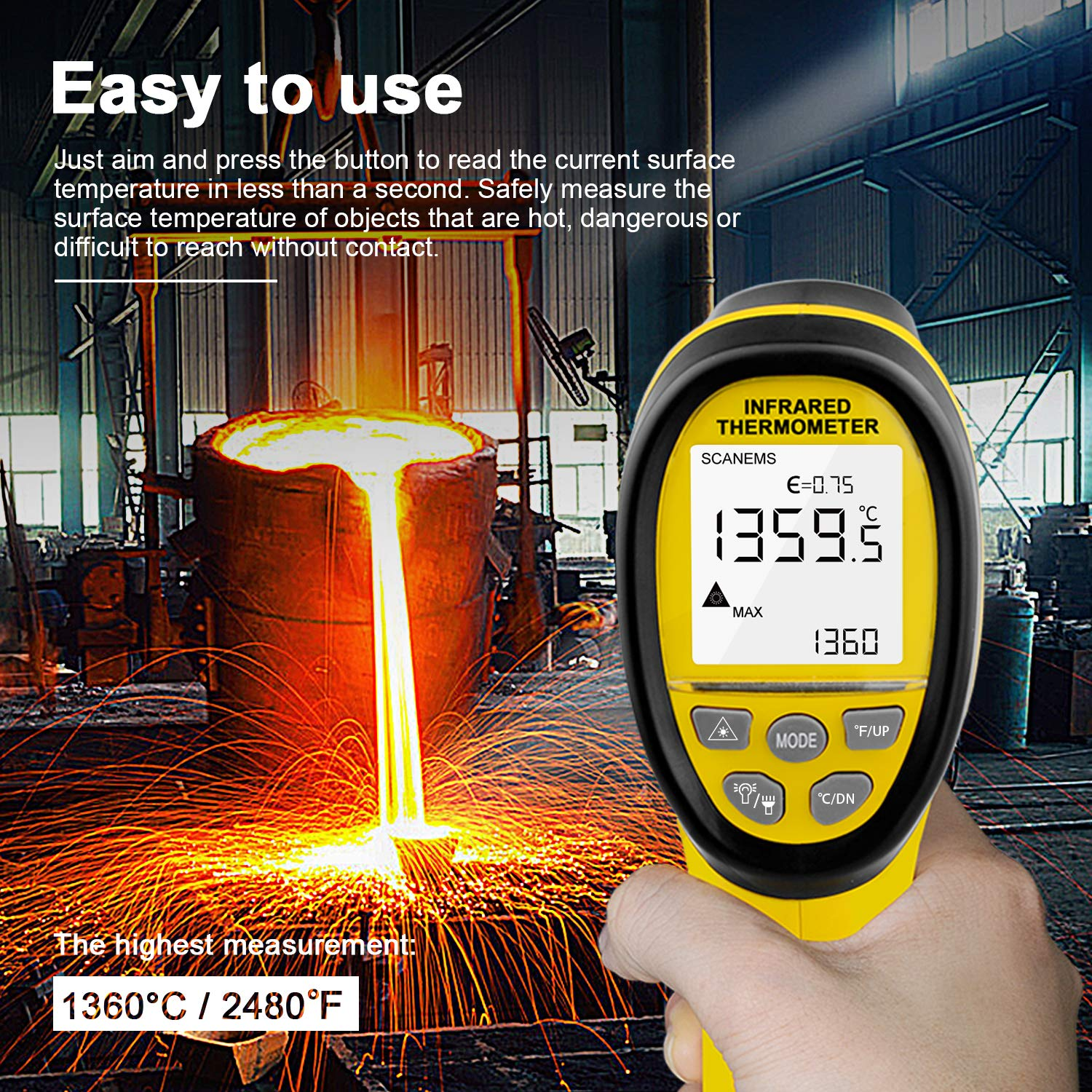 HOLDPEAK 985B Digital Infrared Thermometer Dual Laser Thermometer Non-Contact Temperature Gun -58℉~2480℉ (-50℃~1360℃) with Data Hold & Adjustable Emissivity for Forge Melting Furnace Kilns Industry by H HOLDPEAK (Image #6)