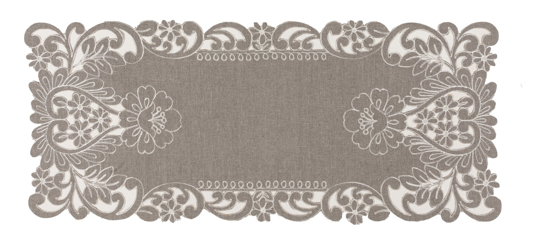 Xia Home Fashions XD183491634Grey Floral Embroidered Cutwork Table Runner, 16 by 36''