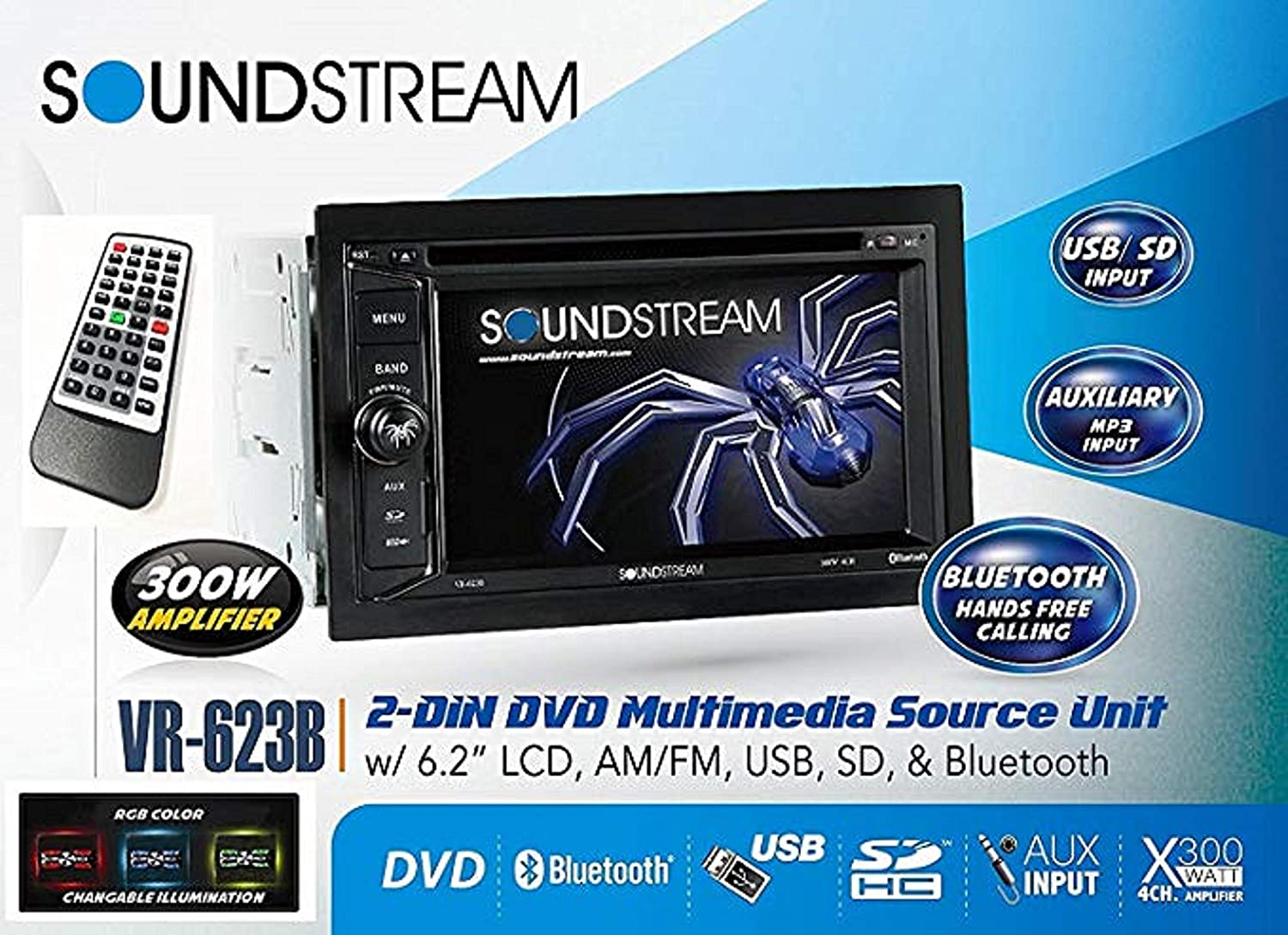 NEW SOUNDSTREAM BLUETOOTH CAR STEREO RADIO WITH USB//AUX INPUT WITH INSTALL KIT