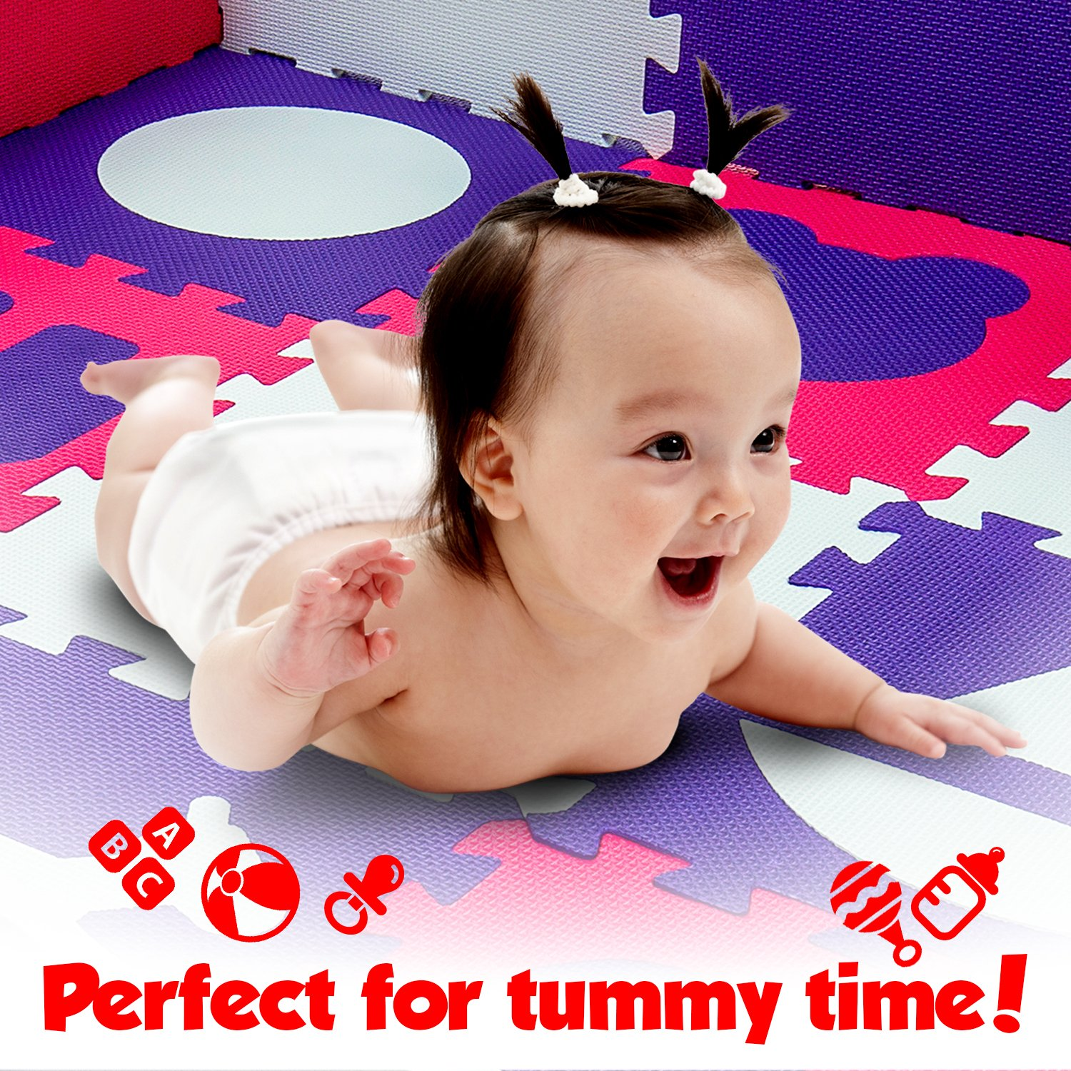 Wee Giggles Non-Toxic Foam Baby Play Mat for Tummy Time Sitting and Crawling