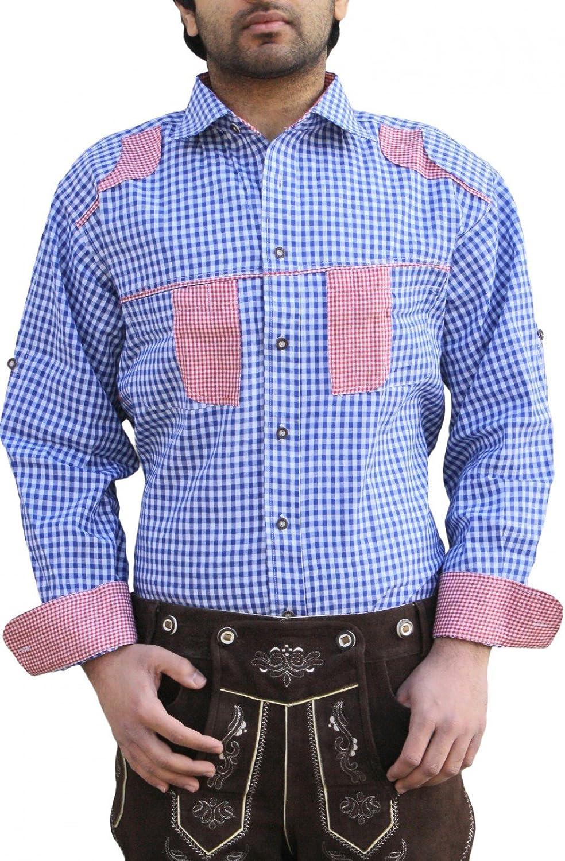 Trachtenhemd für trachten lederhosen wiesn freizeit Hemd blau-rot-kariert