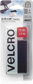 VELCRO Brand AL30643 ALFA-LOK Fasteners Heavy Duty Snap-Lock Technology | Self-Engaging and Multidirectional Use |, 3 x 1 inch strips, 4 sets, Black