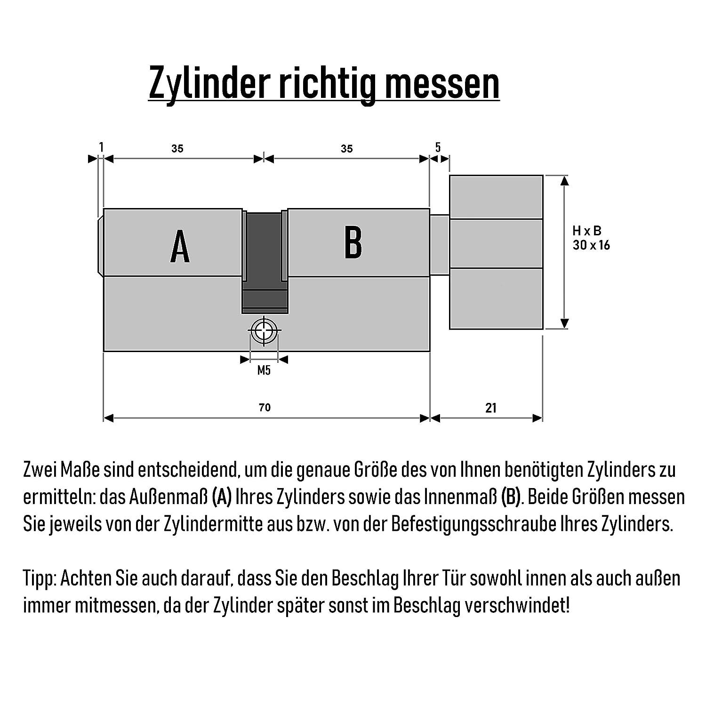 30x Schl/üssel 6x Knaufzylinder 70mm KD 35//35 gleichschliessend Schliesszylinder mit Drehknauf inkl
