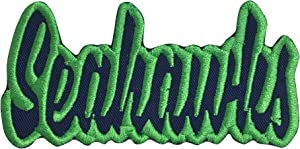 """(2"""" x 4"""") Seahawks - Navy Blue/Action Green - Team Mascot - Words/Names - Iron on Applique/Embroidered Patch"""