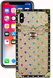 Muntonski iPhoneXs Case Glitter Compatible with iPhone X/Xs Square Protective Cover Bling Cute Luxury Bee 10x 10s 10xs Cases Classic Retro for iPhoneX 5.8 inch (Gold)
